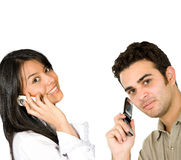 Couple on the phone Stock Image