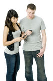 Couple on the Phone royalty free stock photos