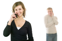 Couple on phone Stock Photography