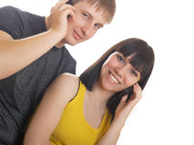 Couple on the phone together Stock Photography