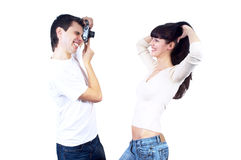 Couple with photo camera Royalty Free Stock Images