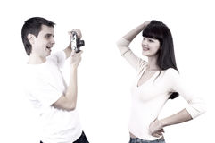 Couple with photo camera Stock Photo