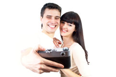 Couple with photo camera Stock Photo