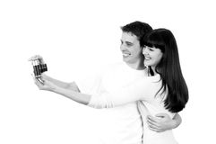 Couple with photo camera Stock Images