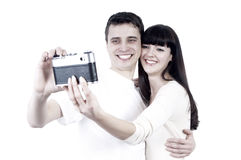 Couple with photo camera Stock Image