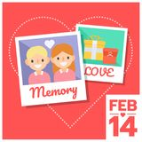 Couple photo memory of love. On heart background, valentine day, 14 FEB Royalty Free Stock Images