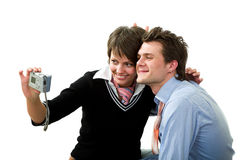 Couple with photocamera Stock Images