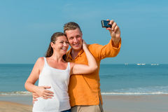 Couple photographed in memory Royalty Free Stock Image