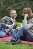 Couple by picnic Royalty Free Stock Image