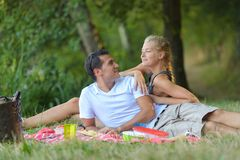 Couple on a picnic royalty free stock images