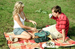 Couple at picnic Stock Photos
