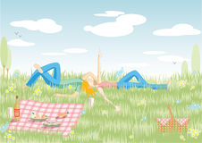 Couple on picnic. Illustration with young couple resting on picnic Royalty Free Stock Photos