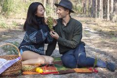 Couple at a picnic drink wine and eat grapes royalty free stock photos