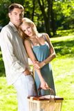 Couple with picnic basket Royalty Free Stock Images
