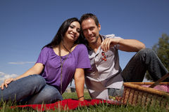 Couple picnic eating grapes Royalty Free Stock Photos