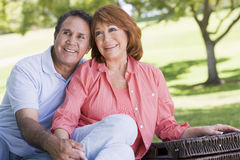 Couple at a picnic holding hands and smiling royalty free stock photo