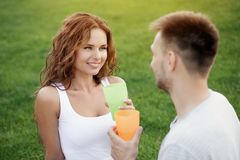 Couple in picnic Royalty Free Stock Photos