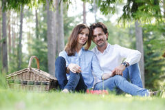 Couple at picnic stock image
