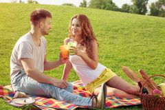 Couple in picnic Royalty Free Stock Photography