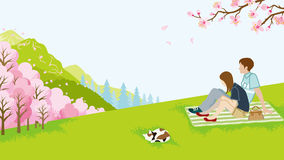 Couple picnic in spring nature Stock Photo