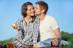 Couple on picnic Stock Images