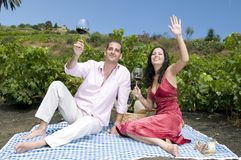 Couple in a picnic in a vineyard Stock Photo