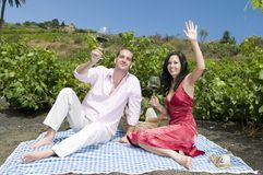 Couple in a picnic in a vineyard tasting wine Royalty Free Stock Photography