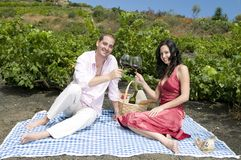 Couple in a picnic in a vineyard tasting wine Royalty Free Stock Photo