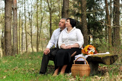 Couple picnicking in the forest Stock Image