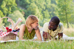 Couple picnicking in park Stock Image