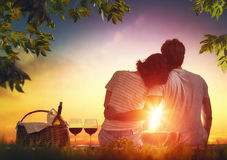 Couple picnicking together Stock Images
