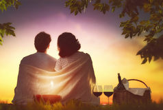 Couple picnicking together Stock Image