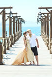 Couple on pier Royalty Free Stock Photos