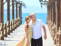 Couple on pier Royalty Free Stock Photos