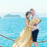 Couple on pier Royalty Free Stock Image