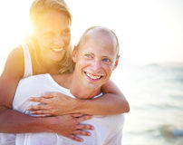 Couple Piggyback Beach Honeymoon Holiday Concept Royalty Free Stock Photo