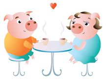 A couple of pigs on a date in a cafe. royalty free illustration