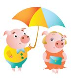 A couple of pigs and a date under an umbrella stock illustration