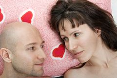 Couple on pillow Royalty Free Stock Photo
