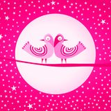 Pink Birds Love Valentines Day Card Royalty Free Stock Photos