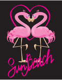 Couple of pink Flamingos and heart Royalty Free Stock Photo