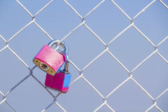 Couple pink padlock Royalty Free Stock Photo