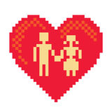 Couple in pixel heart Stock Photos