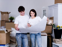 Couple planning of new flat Stock Images