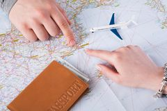 Couple planning travel to Barcelona, Spain Royalty Free Stock Photography
