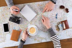 Couple planning travel to Budapest, Hungary Stock Photo