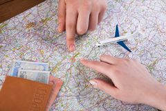 Couple planning travel to Budapest, Hungary Stock Photography
