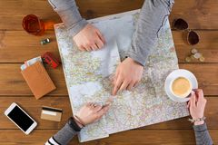 Couple planning travel to Paris, France Stock Images