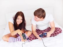 Couple play games Stock Images