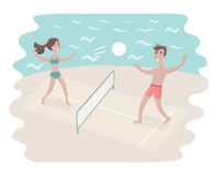 Couple play volleyball vector illustration